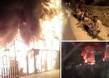 Ribuan imigran terpaksa dievakuasi akibat kebakaran di kamp pengungsi Moria di Lesbos (Foto: Okezone News/Express/Twitter)