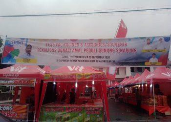 Kegiatan Bazar berbau komersil ditengah merebaknya wabah Covid -19 di halaman Parkir Pariwisata Pemko Siantar, Provinsi Sumatera Utara.