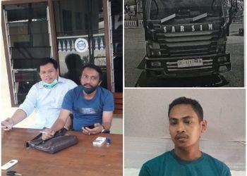 Lamhot Siregar Didampingi Sarda Purba di Polres Pematangsiantar (kiri), Unit Mobil Truck Canter. BK 9287 TN (kanan atas), & Rahman Doni. Terduga Pelaku penggelapan mobil (kanan bawah)