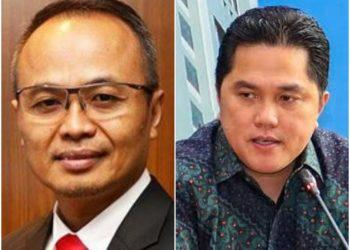 Suko Hartono Dirut Perusahaan Gas Negara (PGN) (kiri) dan Menteri BUMN Erick Thohir (kanan)