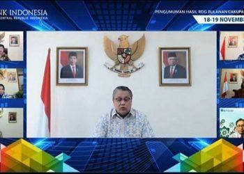 Tangkapan layar - Gubernur BI Perry Warjiyo dalam jumpa pers virtual usai RDG BI edisi November 2020 di Jakarta, Kamis (19/11/2020). (Sumber foto: ANTARA/Tangkapan layar Youtube Bank Indonesia/pri).